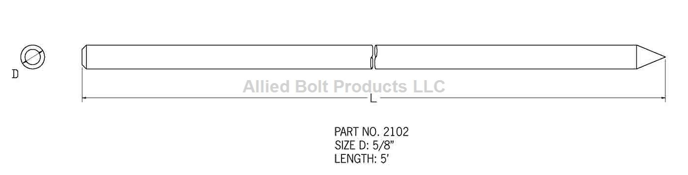 "5/8"" X 5' GALVANIZED GROUND ROD"